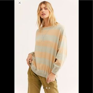 Free People Surfin' On Your Stripes Rugby Sweater